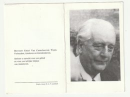 Doodsprentje Emiel VAN CAUWELAERT-DE WYELS Journalist Onze-Lieve-Vrouiw Lombeek 1910- 1982 Burgemeester - Images Religieuses
