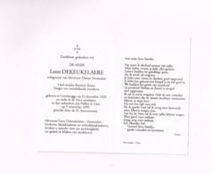 Leon Dekeukelaere,oud-strijder Bataljon Korea,Gentbrugge 22.12.1929,Gent,5.11.1999. - Avvisi Di Necrologio