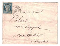 CERES N° 4 (4 GRANDES MARGES) OBL. PC 64 + CAD 1852 De AMIENS Sur LETTRE Pour MONTPELLIER HERAULT CACHET DE ROUTE AU DOS - 1849-1850 Ceres