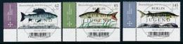 GERMANY Mi.Nr. 3169-3171  Jugend- Süßwasserfische- ESST Berlin -Eckrand Unten Links - Used - Gebraucht