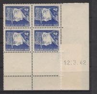 CD 522 FRANCE 1942 COIN DATE 522 : 12 / 3 / 42 EFFIGIES DU MARECHAL PETAIN - Dated Corners
