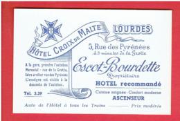 CARTE PUBLICITAIRE HOTEL CROIX DE MALTE 5 RUE DES PYRENEES ESCOT BOURDETTE PROPRIETAIRE  A LOURDES - Visitekaartjes