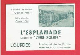 CARTE PUBLICITAIRE L ESPLANADE MAGASIN DE L HOTEL EXCELSIOR BOULEVARD DE LA GROTTE A LOURDES - Visiting Cards