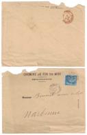 """1881 - CACHET ROUGE (D'ENTRÉE) """" ESPAGNE CERBERE / NARBONNE """" Sur LETTRE SAGE De PERPIGNAN ENTETE CHEMIN DE FER DU MIDI - Marcophilie (Lettres)"""