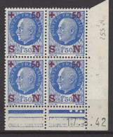 CD 552 FRANCE 1942 COIN DATE 552 : 17 / 8 / 42 EFFIGIES DU MARECHAL PETAIN - Dated Corners