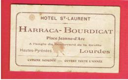 CARTE PUBLICITAIRE HOTEL SAINT LAURENT HARRACA BOURDICAT PLACE JEANNE D ARC A LOURDES - Cartes De Visite