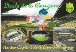 Stade De Football - Stade De La Beaujoire - NANTES - Capitale De La Loire-Atlantique-4 Vues + Carte Géo - Cpm - Vierge - - Voetbal