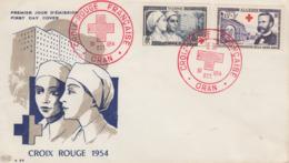 Enveloppe  FDC  1er  Jour  ALGERIE   Paire   CROIX  ROUGE   Oblitération  Rouge   ORAN  1954 - FDC