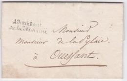 LAC Du MAÎTRE Des REQUÊTES INTENDANT De La MARINE à M De La PYLAIE à OUESSANT - 1818 - Marcofilia (sobres)
