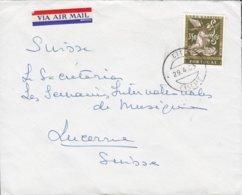 Portugal VIA AIR MAIL Label (made In USA) CASCAIS 1963 Cover Brief LUCERNE Suisse Erzengel Gabriel Gemälde Kaspar Vaz - Briefe U. Dokumente