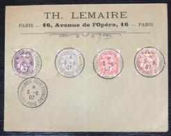 Lettre à Entete LEMAIRE (vieux Marchand De Timbres) De L'expo Du Timbre De Paris 1907 Avec Type Blanc ! - 1900-29 Blanc