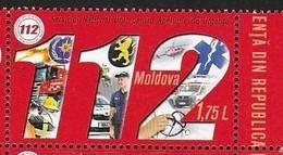 MOLDOVA, 2018,  MNH, 112, PAN EUROPEAN EMERGENCY NUMBER, FIREMEN, HELICOPTERS, AMBULANCES, EMERGENCY SERVICES, 1v - Pompieri
