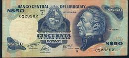 URUGUAY RARE P59 50 Nuevos Pesos 1975 Serie A Signature 14a  VF Folds NO P.h. - Uruguay