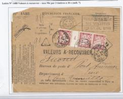 Lettre Valeurs à Recouvrer - Pont Audemer - 1927 - Taxée Par 3 Timbres à 30 Cts Mill 7 - Impuestos