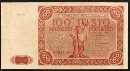 Polonia POLAND 100 ZLOTYCH 1947 Prefix C PICK#131A BB+ LOTTO 2949 - Polonia
