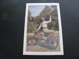 USSR Soviet Russia Pocket Calendar Motorcycle Girl With An Umbrella Bike 1975 - Calendars