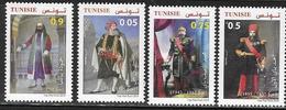 TUNISIA,  2019, MNH,COSTUMES, HISTORICAL FIGURES, HUSAINIS BEY, 4v - Otros
