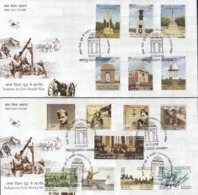 INDIA, 2019 Set Of 2 FDCs, Contribution Of India In First World War, 2 FDCs With Complete Set 15v Jabalpur Cancelled - FDC