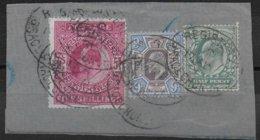 GB - YVERT N° 115+119 RARES SUR FRAGMENT TRICOLORE - COTE DETACHES = 210 EUR. !! - 1902-1951 (Re)