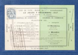 FRANCE 107 SUR CARTE ELECTEUR TRIBUNAL DE COMMERCE - 1900-29 Blanc