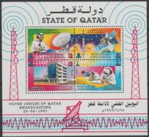 State Of Qatar Katar 1993 Mi. Bl. 27 Silver Jubilee Of Qatar Broadcasting Space Raumfahrt Espace RARE - Qatar