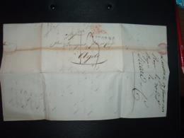 LETTRE (PLI) Datée 1er Janvier 1818 + TAXE + Griffe LIVORNO + TS + Griffe Rouge ITALIE PAR NIMES + Ets COMMERCE SICARD - Marcofilia (sobres)