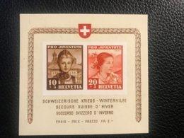 Schweiz Pro Juventute 1941 Block Zumstein-Nr. 98I+99I ** Postfrisch - Pro Juventute