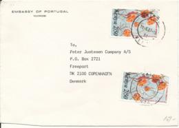 Kenya Cover Sent To Denmark 11-5-1987 Flowers On The Stamps (Embassy Of Portugal Nairobi) - Kenya (1963-...)