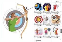 Ukraine 2019, Sport, Archery, Sheetlet Of 9v - Ucrania