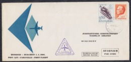 Yugoslavia 1968 First Flight Beograd - Bucarest, Commemorative Cover - 1945-1992 Sozialistische Föderative Republik Jugoslawien
