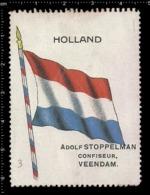 Old  Dutch Poster Stamp Cinderella Vignette Erinoffilo Reklamemarke Flag Flagge Netherlands Holland. - Flaggen