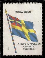 Old  Dutch Poster Stamp Cinderella Vignette Erinoffilo Reklamemarke Flag Flagge Schweden Sweden. - Flaggen