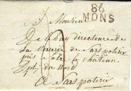 1812- Lettre De 86 / MONS ( Le Jemappes ) 22 Mm Noir Pour Sars Poterie ( Nord ) Taxe 4 D. - 1794-1814 (French Period)