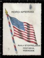 Old  Dutch Poster Stamp Cinderella Vignette Erinoffilo Reklamemarke Flag Flagge NordAmerika North America - Flaggen