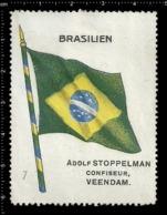 Old  Dutch Poster Stamp Cinderella Vignette Erinoffilo Reklamemarke Flag Flagge Brasilien Brazil. - Flaggen