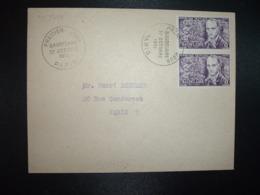 LETTRE TP YT 908 BAUDELAIRE 8f Paire OBL.27  OCTOBRE 1951 PREMIER JOUR PARIS - FDC