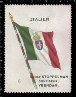 Old  Dutch Poster Stamp Cinderella Vignette Erinoffilo Reklamemarke Flag Flagge Italien Italy. - Flaggen
