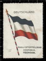 Old  Dutch Poster Stamp Cinderella Vignette Erinoffilo Reklamemarke Flag Flagge Deutschland Germany. - Flaggen