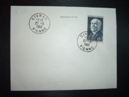 LETTRE TP YT 864 RAYMOND POINCARE 15F OBL.27-5 1950 CIVRAY VIENNE (86) - FDC