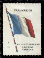 Old  Dutch Poster Stamp Cinderella Vignette Erinoffilo Reklamemarke Flag Flagge Frankreich France. - Flaggen