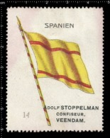 Old  Dutch Poster Stamp Cinderella Vignette Erinoffilo Reklamemarke Flag Flagge Spanien Spain. - Flaggen