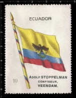 Old  Dutch Poster Stamp Cinderella Vignette Erinoffilo Reklamemarke Flag Flagge Ecuador. - Flaggen
