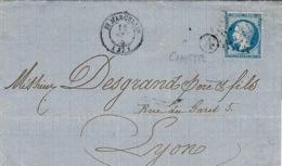 1865- Lettre De St Marcellin ( Isère ) T 15 Affr. N° 22 Oblit  G C 3741 +  Boite Rurale  A De Chatte - Postmark Collection (Covers)
