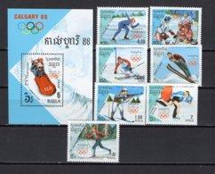 Cambodia 1988 Olympic Games Calgary Set Of 7 + S/s MNH - Winter 1988: Calgary