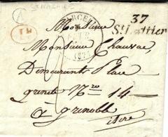 1841- Cursive  37 / St Lattier  + T12 ST MARCELLIN  ( Isère ) + A - Boite Rurale De St Nazaire - Marcofilia (sobres)