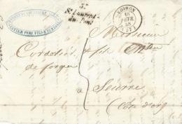 1848- Cursive 37 / St Laurent / Du-Pont   + T15 Voiron  ( Isère ) Taxe 5 Pour Seurre - Marcofilia (sobres)