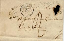 1848-cursive  37 / Villard-/de-Lans  + T15 Sassenage ( Isère ) + B Meaudre (Boite Rurale ) - Marcofilia (sobres)