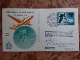 SAN MARINO 1956 - F.D.C. 100 Lire Sovrastampato Posta Aerea - Viaggiata + Spese Postali - FDC