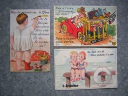 LOT DE 3 CARTES SYSTEME PHOTOS - LE RHIN, CAZAUX, ARCACHON - Cartoline Con Meccanismi