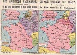 """Les Ambitions Alemmandes Et Ceque Veullents Les Alliés 'carte Double"""" - War 1914-18"""